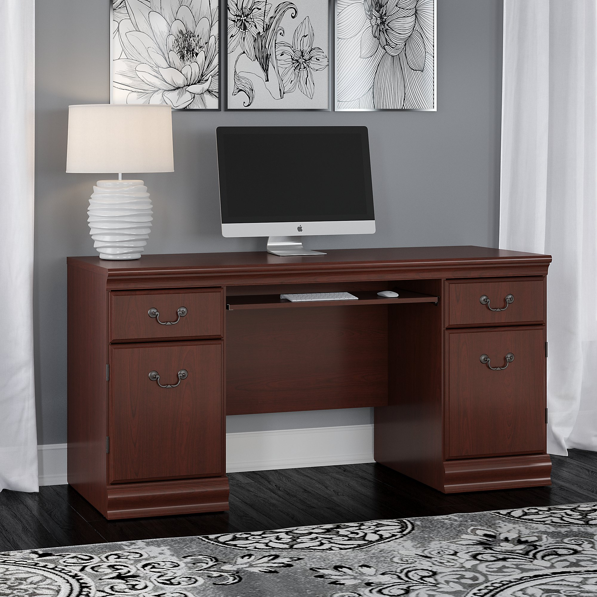 Bush Furniture Birmingham Credenza Desk With Keyboard Tray And Storage In  Harvest Cherry