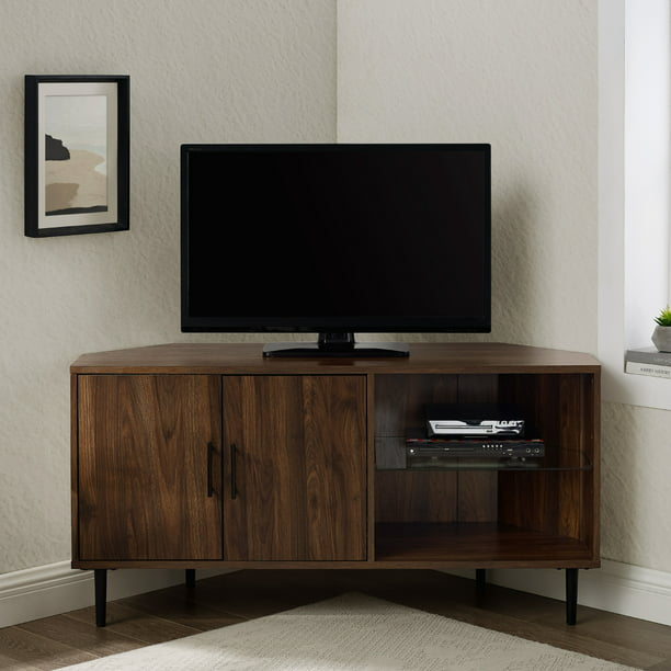"Manor Park Basie 2-Door Corner TV Stand for TVs up to 55"", Dark Walnut"