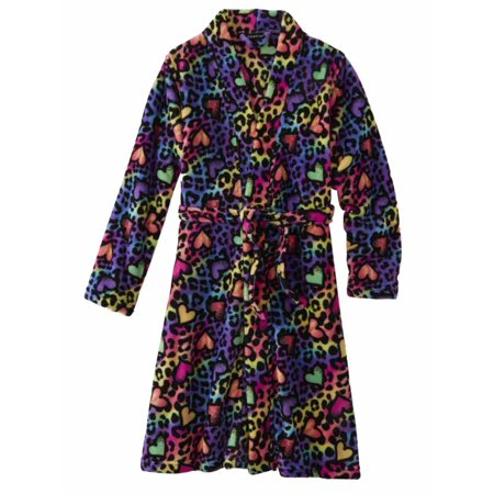 Girls Rainbow Heart Leopard Print Bathrobe Bath Robe Cheetah House Coat (Boxer In Robe)