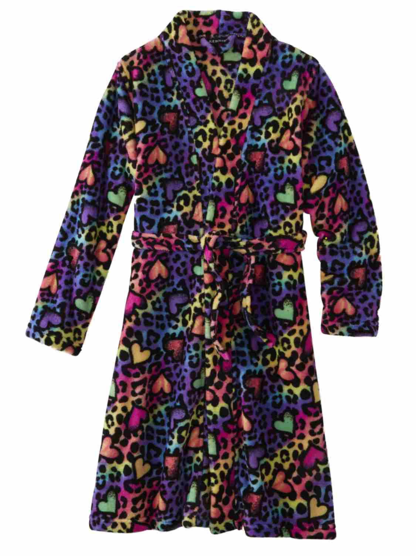Girls Rainbow Heart Leopard Print Bathrobe Bath Robe Cheetah House Coat
