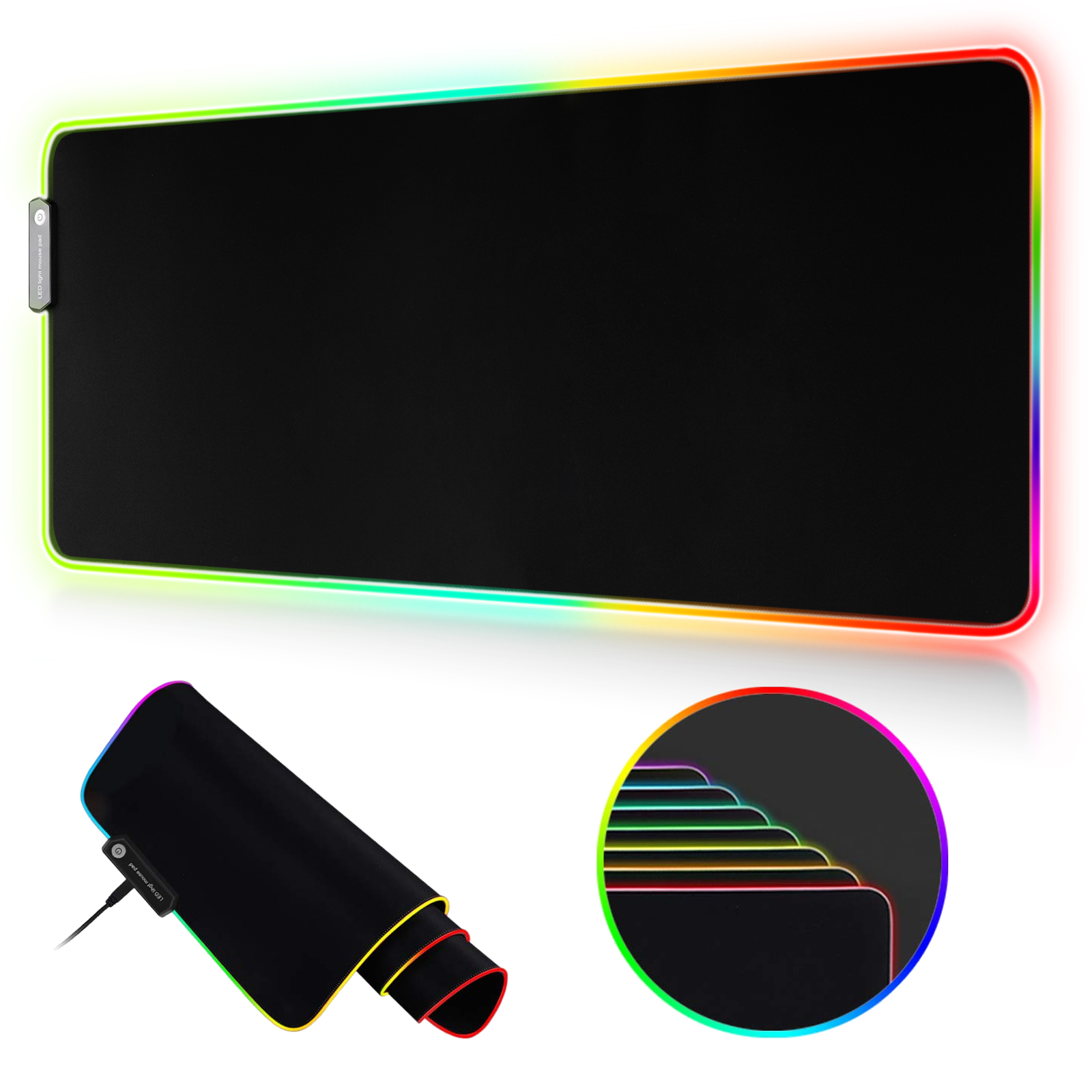 RGB Gaming Large Mouse Pad, 30.7 X 11.8in Led Extended Mouse Mat – Non Slip Rubber Base Computer Keyboard Pad