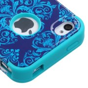 Insten Purple/Blue Damask/Teal TUFF Hybrid Dual Layer Phone Cover Protective Case For iPhone 4 4s