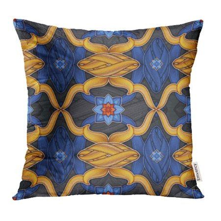 USART Navy Flower Creative Heraldic Medieval Abstract Antique Carpet Chick Classic Pillowcase Cushion Cover 20x20 - Navy Chick
