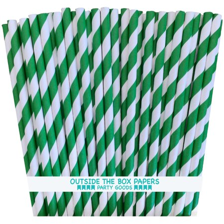 Green and White Striped Paper Straws   Pack of 100