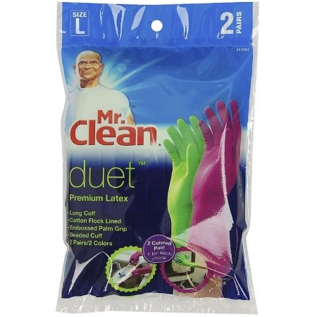 Mr. Clean Duet Reusable Gloves, Latex, Large