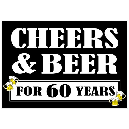 Cheers and Beers to 60 Years Cake Table or Photo Party Backdrop - Cake Table