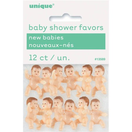 Mini Plastic Babies Baby Shower Favor Charms, 1 in, 12ct - Mini Plastic Dots