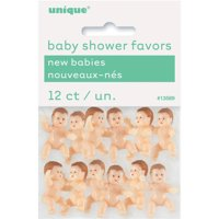 Mini Plastic Babies Baby Shower Favor Charms, 1 in, 12ct