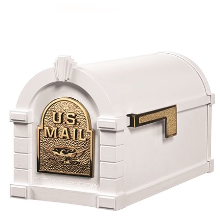 Keystone Mailbox WHT w/Polished Brass Eagle