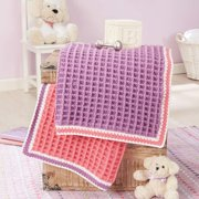 Herrschners  Cozy Comforts Baby Blankets 2-pack Crochet Afghan Kit