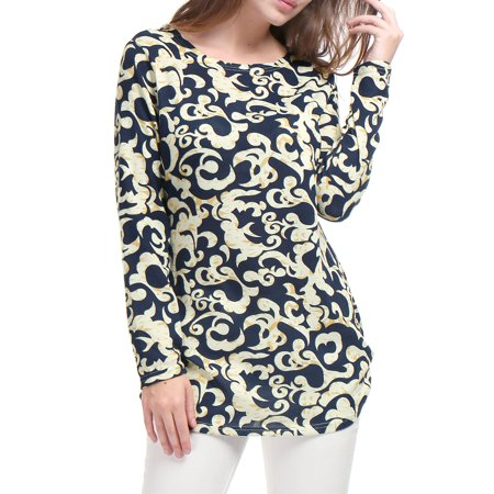 Women Novelty Prints Long Sleeves Ruched Sides Knitted Tunic Top Beige /XL (US 18)
