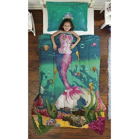 Mermaid Comforter (Dream Big Sea Princess Twin Mini Bedding Comforter Set)