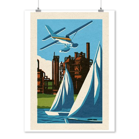 Union Lantern (Seattle, Washington - Lake Union -  Woodblock - Lantern Press Artwork (9x12 Art Print, Wall Decor Travel Poster) )
