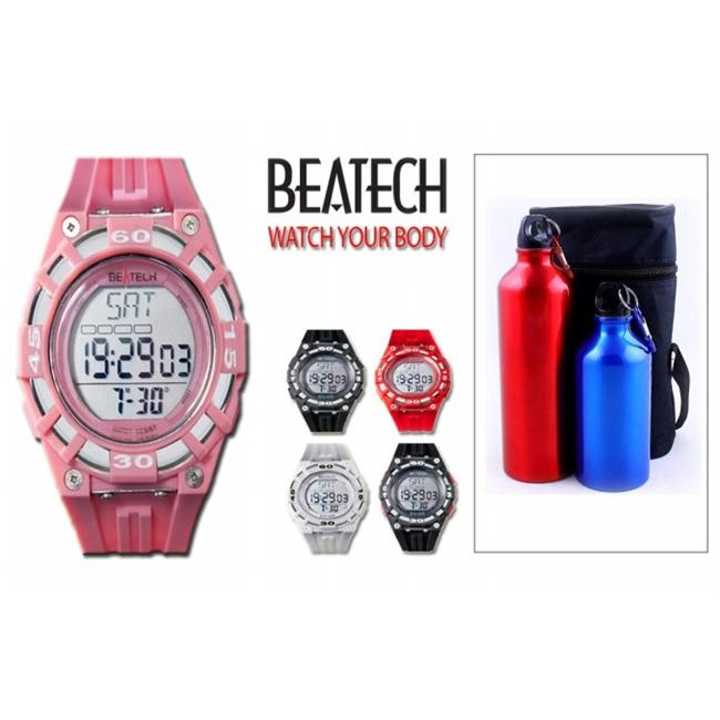 Ovente Beatech Collection BH5000P Heart Rate Monitor Watch and Finelife Camping Bottle Set