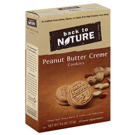 Back to Nature Peanut Butter Creme Cookies, 9.6 oz, (Pack of 6) - Peanut Butter Chocolate Halloween Cookies