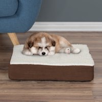 Dog Bed Orthopedic Sherpa Top Pet Bed with Memory Foam and Removable Cover 20x15x4 Brown