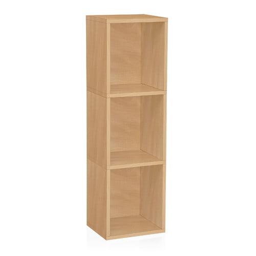 Way Basics Eco 3-Shelf Triple Cube Plus Narrow Bookcase and Storage Shelf, Natural