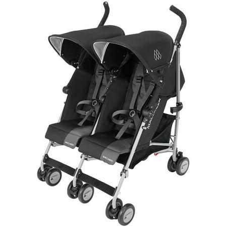 Maclaren Twin Triumph Umbrella Double Stroller, Black/Charcoal