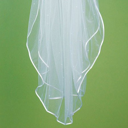 - Weddingstar 8231 Satin Ribbon Edge & Scattered Pearl Border Veil - Ivory