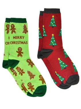 Christmas Women's Christmas Tree & Gingerbread Men Cookie Socks 2-Pair Set