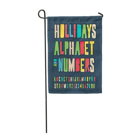LADDKE Holidays Alphabet and Numbers Colorful Craft Cut Out Garden Flag Decorative Flag House Banner 12x18 inch (Alphabet Cut Outs)