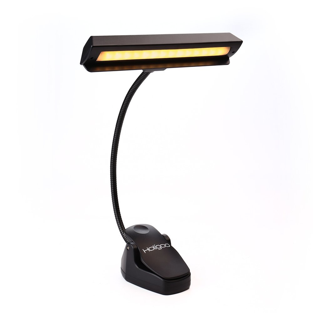 Holigoo Upgraded 14 LED Book Lights, Clip on Music Stand Lights, Portable Piano Light 2 Brightness USB Battery Reading... by