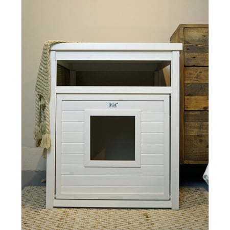 Ecoflex Jumbo Covered Cat Litter Box Cover End Table Antique White