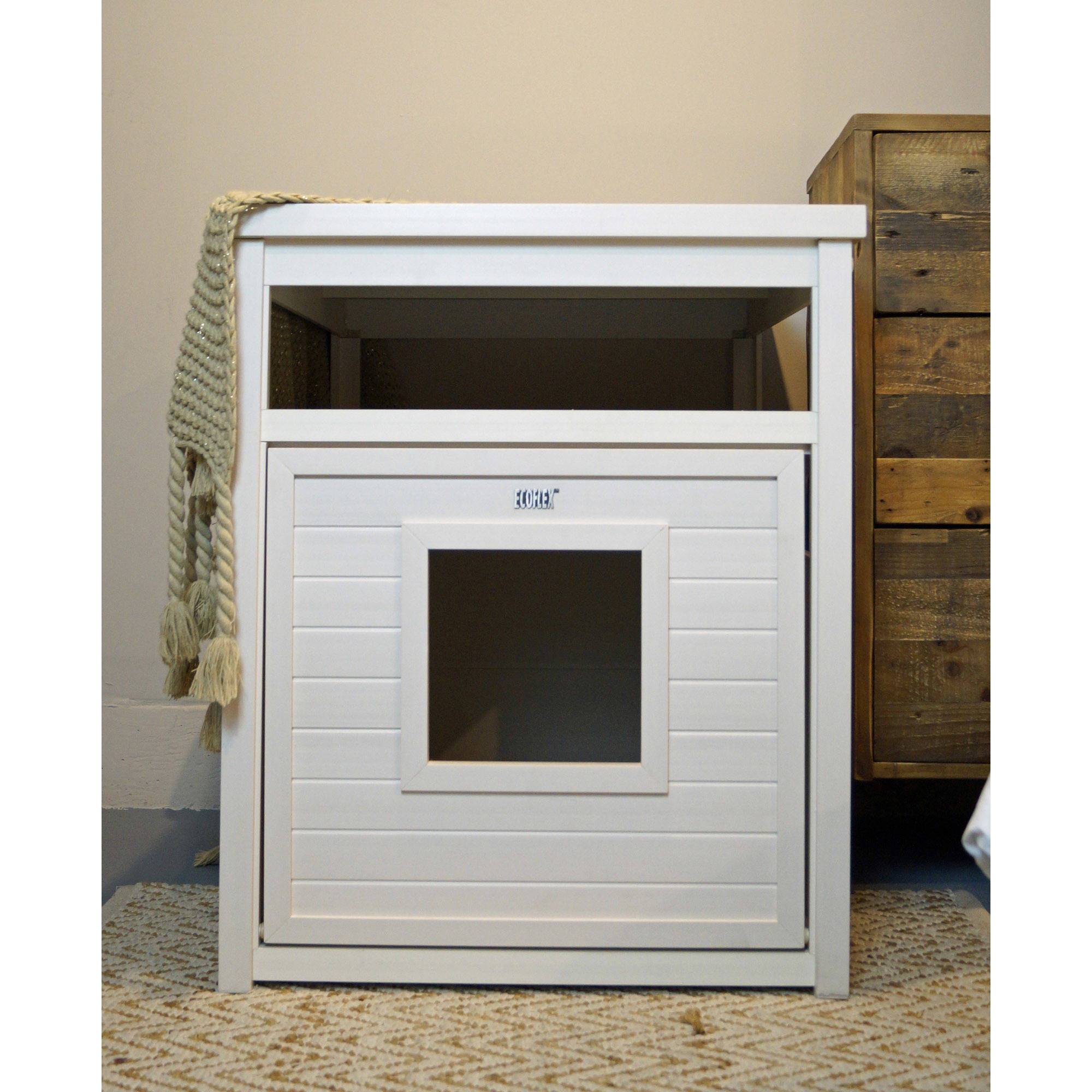 ecoFLEX Jumbo Covered Cat Litter Box, Cover/End Table - Antique White