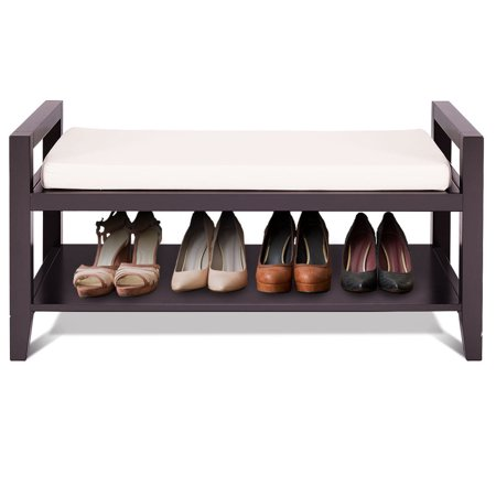 Gymax Wood Shoe Bench Storage Rack Cushion Seat Ottoman Bedroom Hallway Entryway - image 10 of 10
