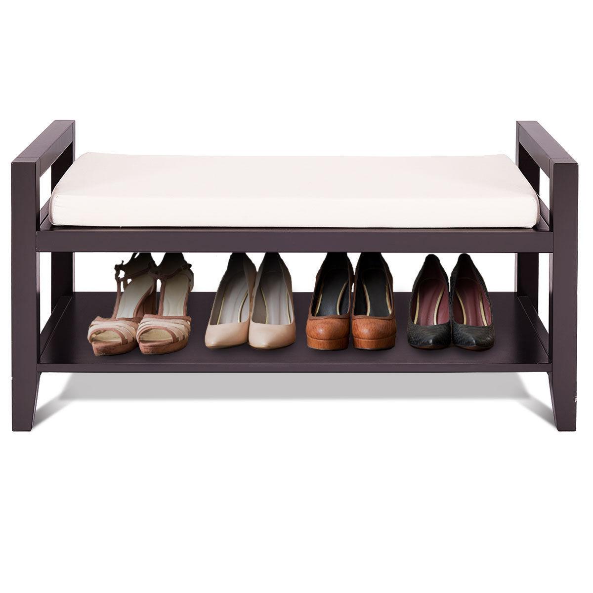 Gymax Wood Shoe Bench Storage Rack Cushion Seat Ottoman Bedroom Hallway Entryway