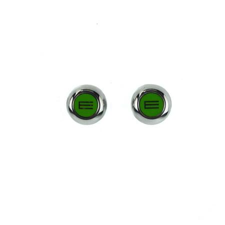 Silver Tone Metal Enamel - Etro Mens Green Enamel E Logo Silver tone Metal Cuff links
