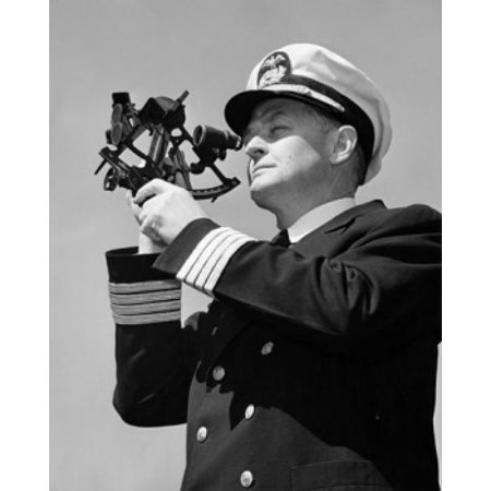 Low angle view of a ship captain looking through a sextant Canvas Art - (18 x 24)