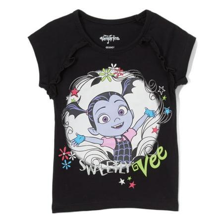 Disney Vampirina Girls' Short Sleeve Shirt, 2T-6X, Pink, Purple, Black (Pink Hair Disney Character)