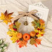 iLiebe  Shiny Flower Artificial Wreath Maple Leaf Pumpkin Wreath Autumn Wreath Thanksgiving Harvest Garland with a Bell