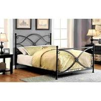 Furniture of America Melissa Modern Swirled Inspired Matte Black Metal Bed, Multiple Sizes
