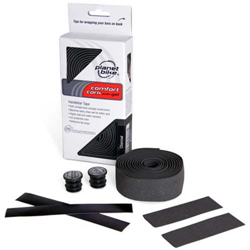 Planet Bike CHARCOAL GEL Bicycle Handlebar Grip Tape with Reflective Bar Plugs