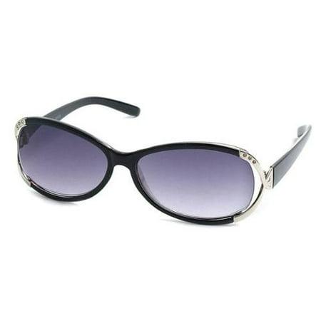 f9e83e18f88 Readers.com The Claire Sun Reader +1.25 Black and Silver Womens Oval  Reading Sunglasses