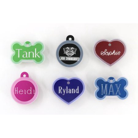 Pet ID Tags With Pet Tag Silencer - Custom Engraved For Your Dog Or Cat, Personalized Front And Back, Up To Four Lines Of Text Per Side, Heart Bone or Circle, 8 Colors to Choose From, Large Size Only](Customizable Dog Tags)