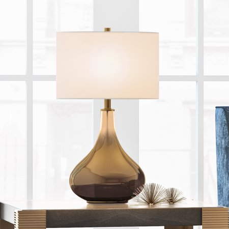 Ceres Modern Glam Table Lamp in Ombre Gold Brass Colored Glass with Linen Shade ()