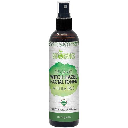 Organic Tea Tree Witch Hazel Toner (8 oz) Purifying Tea Tree Toner Witch Hazel Face Mist Tea Tree - Oily Acne and Blemish Prone Skin - Cruelty-Free and Vegan Facial (Good Toner For Sensitive Acne Prone Skin)