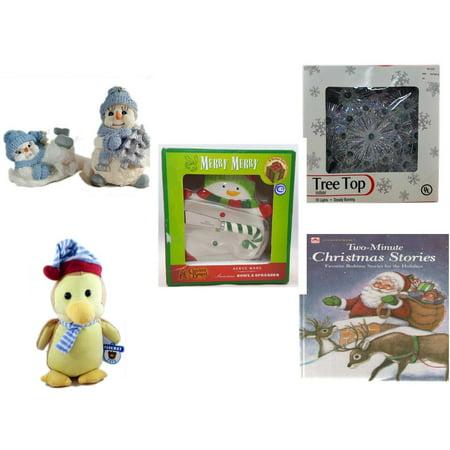 Christmas Fun Gift Bundle [5 Piece] - 1998 Encore Group Snowman Ornaments Set - 19-Light Snowflake Tree Topper - Cracker Barrel Serveware Snowman Bowl & Spreader - Parkway Toys  (Best Encore Servewares)