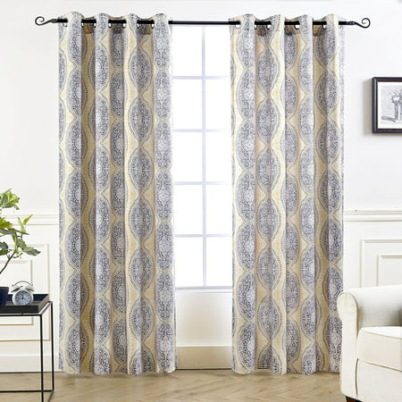 DriftAway Adrianne Damask/Floral Pattern Thermal/Room Darkening Grommet Unlined Window Curtains, Set of 2 Panels, each 52
