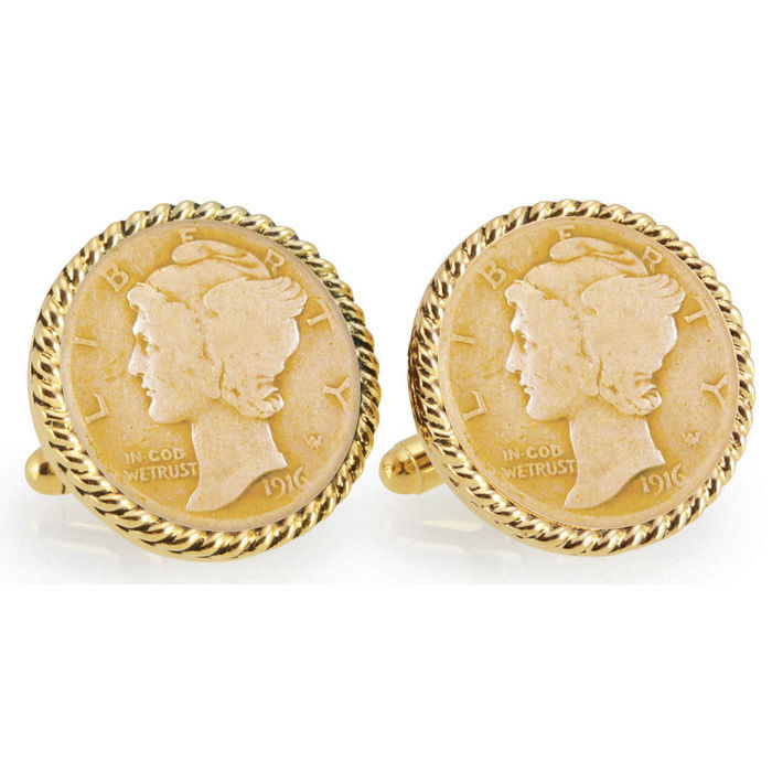 Gold-Layered Silver Mercury Dime Rope Bezel Cufflinks