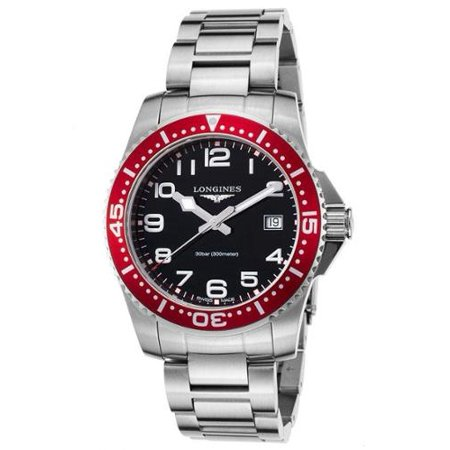 Longines L36894596 Men's Hydro Conquest Stainless Steel Black Dial Red Bezel Ss Watch Black Dial Ceramic Bezel