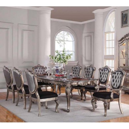 Fabulous Antique Platinum Rectangular Dining Room Set 5Pcs Acme Furniture 60540 Chantelle Home Interior And Landscaping Ponolsignezvosmurscom