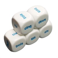 Set of 5 French Word Numbers 21mm Six Sided Dice 1-6 in Snow Organza Bag