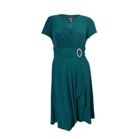 Mock Wrap Jersey Dress - R&M Richards Women's Ruched Faux Wrap Embellished Jersey Dress (8, Emerald)