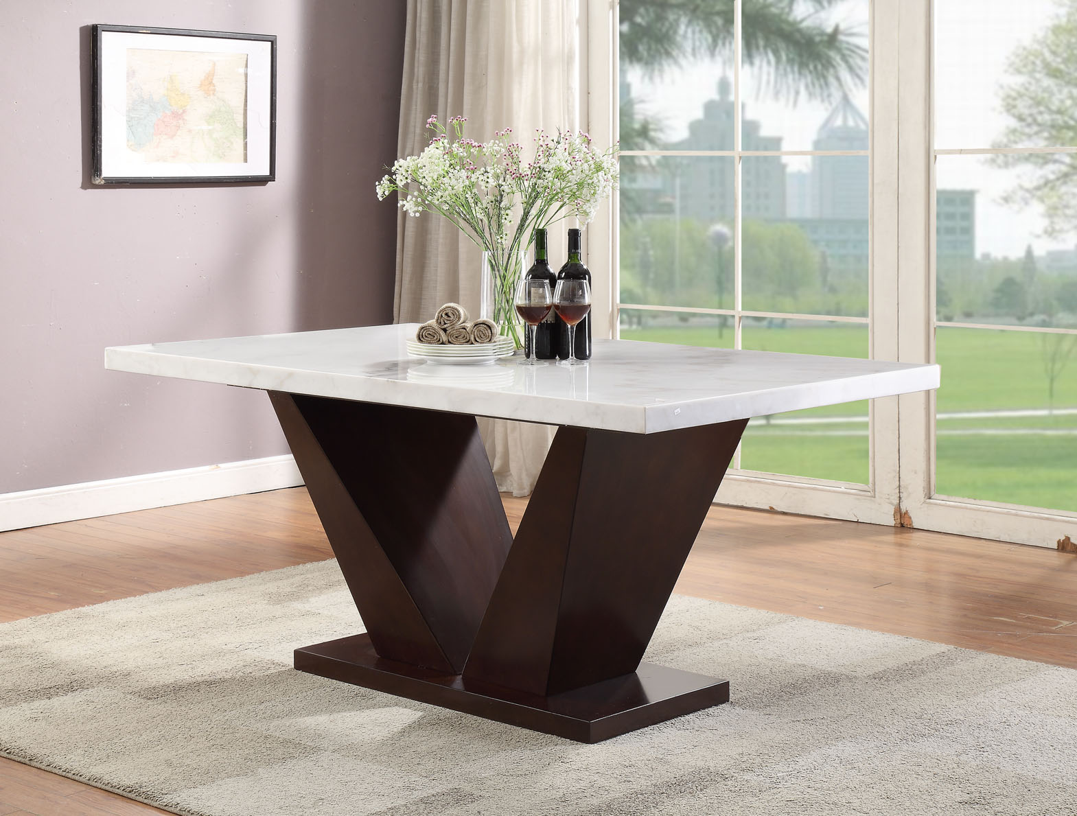 Acme Forbes Dining Table White Marble Walnut 1set 2ctn Walmart Com Walmart Com