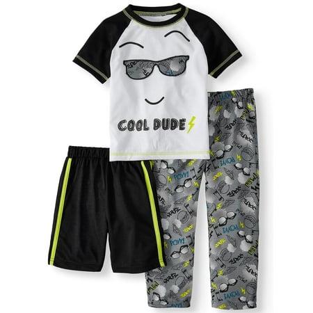 - Short Sleeve Top, Shorts & Pants Pajamas, 3-piece Set (Toddler Boys)