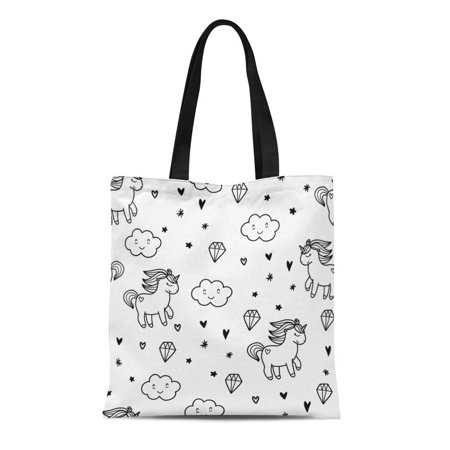 LADDKE Canvas Tote Bag Drawing Doodles Cute Black Pony and Cloud Abstract Cartoon Durable Reusable Shopping Shoulder Grocery Bag